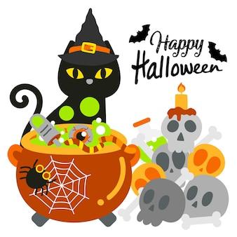 Feliz dia das bruxas com gato preto.