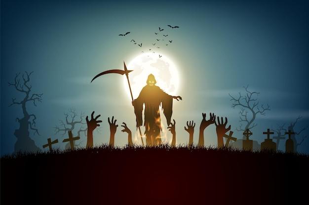 Feliz dia das bruxas com grimp ripper em lua cheia.