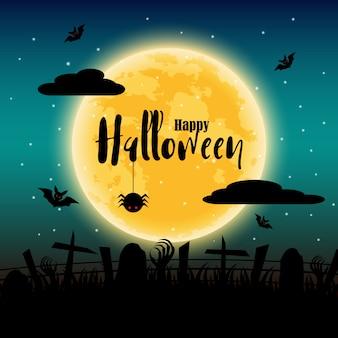 Feliz dia das bruxas com lua cheia no fundo