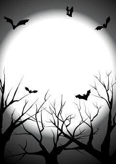 Feliz dia das bruxas com morreu fundo de silhueta de árvore
