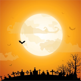 Feliz dia das bruxas com um fundo de lua cheia