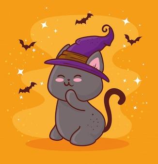 Feliz dia das bruxas, com um gato bonito usando um chapéu de bruxa e morcegos voando design de ilustração vetorial