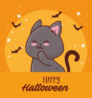 Feliz dia das bruxas com um gato fofo e morcegos voando design de ilustração vetorial