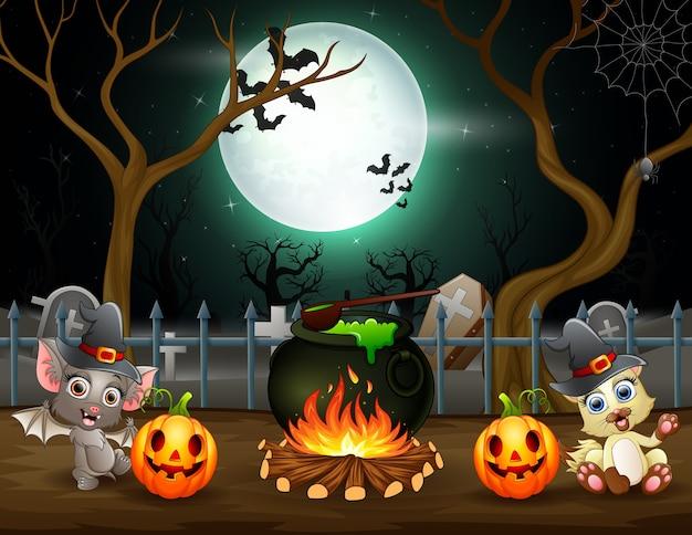 Feliz dia das bruxas com um morcego e uma raposa preparando uma poção