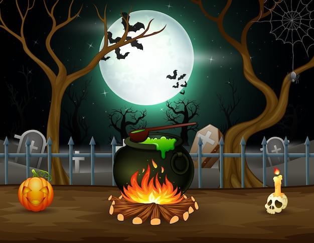 Feliz dia das bruxas com uma poção em um caldeirão em frente a um cemitério