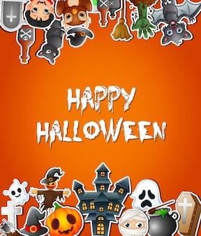Feliz dia das bruxas comemorações de cartão cartaz com adesivos