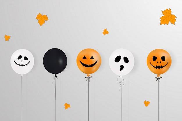 Feliz dia das bruxas. conceito de férias com balões de halloween, folhas caindo