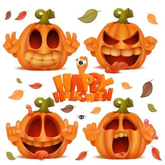 Feliz dia das bruxas conjunto com personagens de desenhos animados emoji abóbora