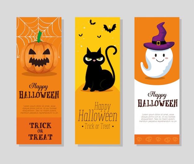 Feliz dia das bruxas conjunto de cartões ou banner conjunto