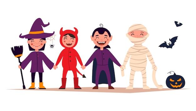 Feliz dia das bruxas. conjunto de crianças fofas de desenho animado com fantasias coloridas de halloween