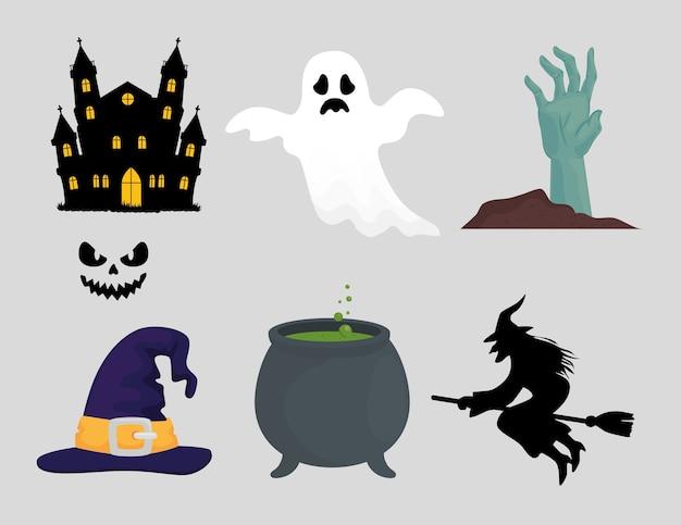 Feliz dia das bruxas, conjunto de ícones de decoração