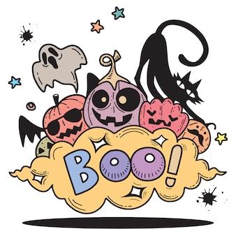 Feliz dia das bruxas contour contorno doodle. fundo de papel, ilustração vetorial