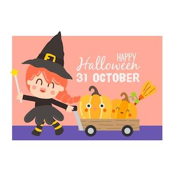 Feliz dia das bruxas convite banner.