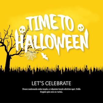 Feliz dia das bruxas convite cartão com design criativo vector