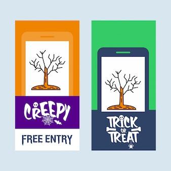 Feliz dia das bruxas convite design com vetor de árvore