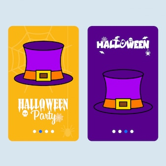 Feliz dia das bruxas convite design com vetor de chapéu