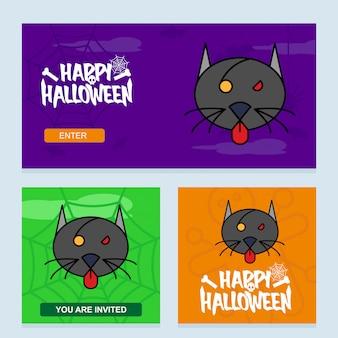 Feliz dia das bruxas convite design com vetor de gato