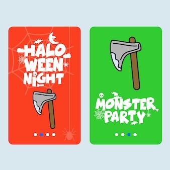 Feliz dia das bruxas convite design com vetor de machado