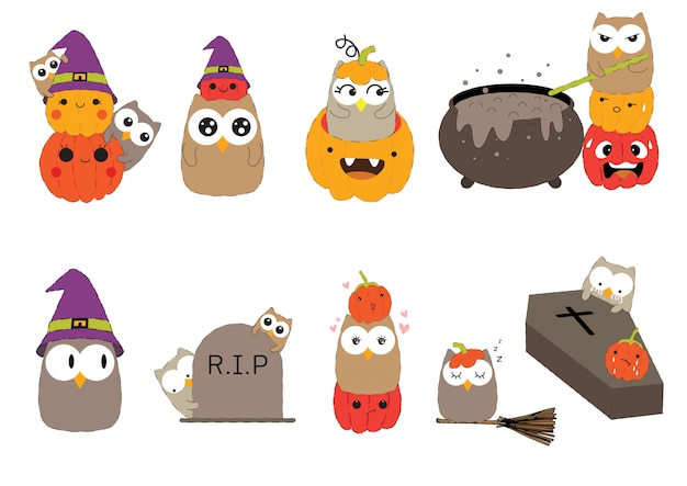 Feliz dia das bruxas coruja bonita com conjunto de caracteres de abóbora