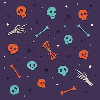 Feliz dia das bruxas. crânios e ossos. conjunto de elementos de desenhos animados coloridos no tema de celebrar o halloween. ilustração.