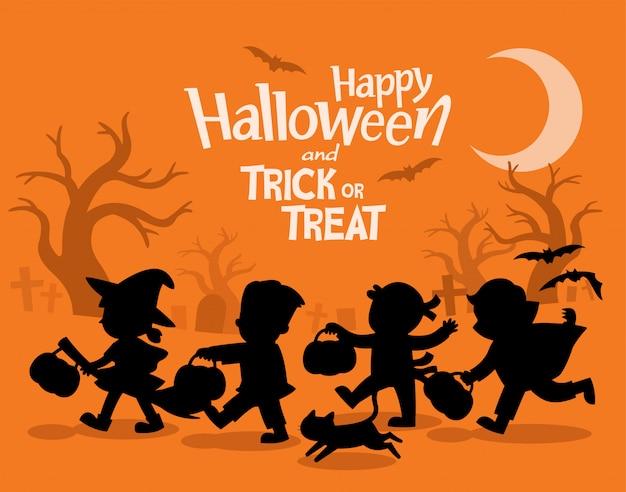 Feliz dia das bruxas. crianças vestidas com fantasias de halloween para irem para doces ou travessuras. modelo de folheto publicitário.