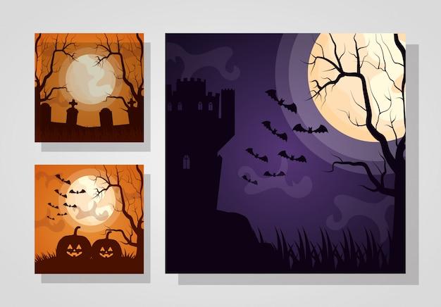 Feliz dia das bruxas definir cartões escuros