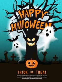 Feliz dia das bruxas demônio árvore espírito fantasma jack lanterna morcego com lua cheia noite fundo no cemitério