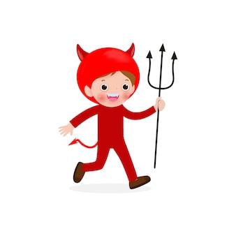 Feliz dia das bruxas. demônio do diabo vermelho pequeno bonito, crianças com fantasia de halloween, isolado no fundo branco. ilustração kid costume party.