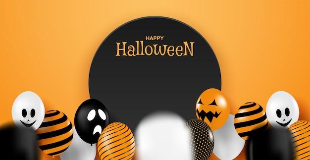 Feliz dia das bruxas. design com festa de balões em fundo laranja. .