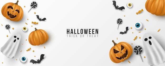 Feliz dia das bruxas design de plano de fundo. 3d emocional, cartoon, sorrindo abóboras com olhos, doces, pirulitos, morcegos voadores, fantasma em fundo branco. modelo de convite de festa