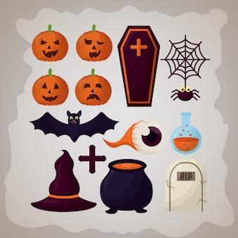 Feliz dia das bruxas dia conjunto de elementos