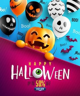 Feliz dia das bruxas doce ou travessura com abóbora de halloween feliz e balões de ar assustadores
