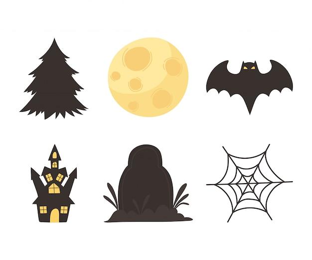 Feliz dia das bruxas, doce ou travessura festa castelo lápide morcego lápide árvore lua ícones ilustração vetorial