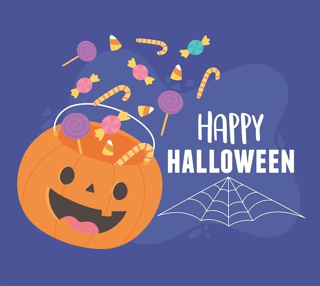Feliz dia das bruxas, doces caindo na ilustração de abóbora balde