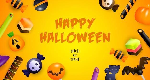 Feliz dia das bruxas, doces ou travessuras letras, bolos e doces