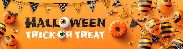 Feliz dia das bruxas doces ou travessuras poster com balões de ar assustador e elementos de halloween