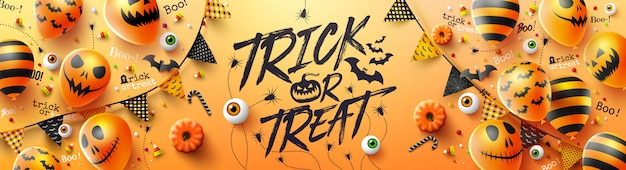 Feliz dia das bruxas doces ou travessuras poster com balões de fantasma de halloween