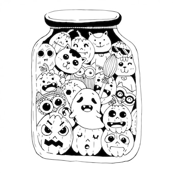 Feliz dia das bruxas doodles estilo