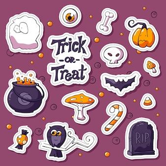 Feliz dia das bruxas dos desenhos animados adesivo conjunto. elementos de design de etiqueta com letras