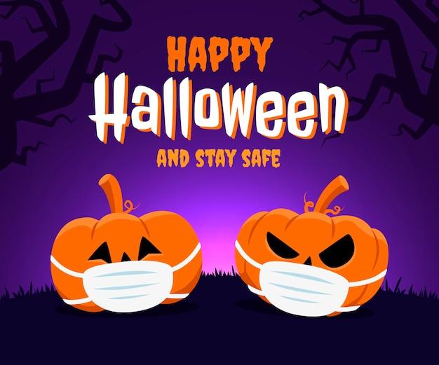Feliz dia das bruxas e conceito de ficar seguro. duas abóboras usando máscara facial por causa do coronavírus