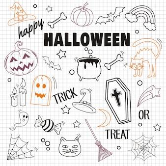 Feliz dia das bruxas e elemento em fundo de papel