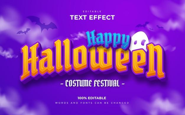 Feliz dia das bruxas e estilo de efeitos de texto editáveis assustadores