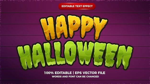 Feliz dia das bruxas editável de texto efeito de desenho animado modelo de estilo 3d em quadrinhos