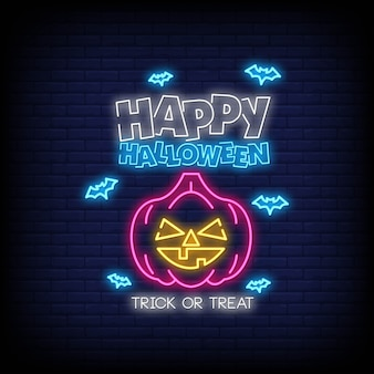 Feliz dia das bruxas em estilo de sinais de néon