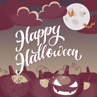 Feliz dia das bruxas escrito à mão texto no estilo rtro. design para impressão, cartaz, convite, t-shirt. ilustração vetorial