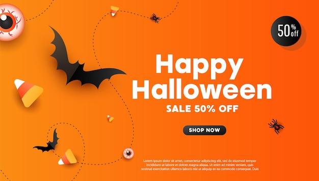 Feliz dia das bruxas feriado conceito halloween decorações aranhas doces morcegos em fundo laranja