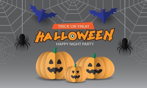 Feliz dia das bruxas, festa, abóbora, aranha, morcego, corte de papel, estilo em fundo cinza