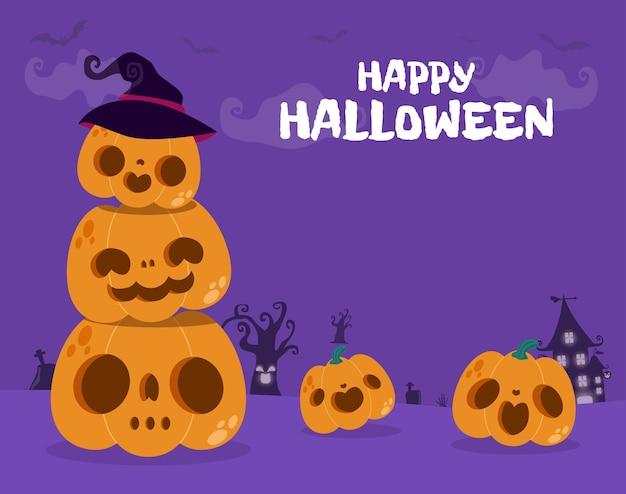 Feliz dia das bruxas festa pôster remendo de abóbora à noite jack o lantern festa truque ou travessura