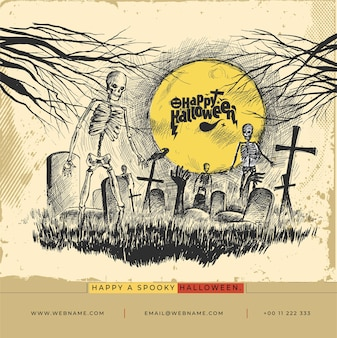 Feliz dia das bruxas festival digital concept instagram e social media post banner template.