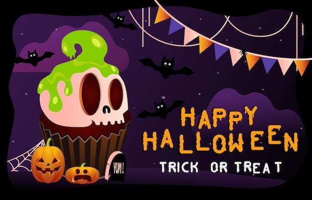 Feliz dia das bruxas fundo assustador. convite para festa ou banner de halloween com bolo de esqueleto. ilustração de terror.